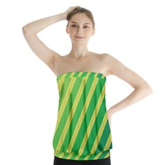 Green And Yellow Lines Strapless Top