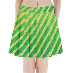 Green And Yellow Lines Pleated Mini Mesh Skirt