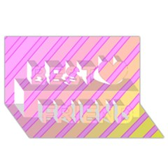 Pink and yellow elegant design Best Friends 3D Greeting Card (8x4)