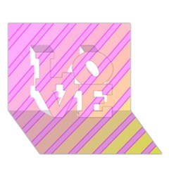 Pink and yellow elegant design LOVE 3D Greeting Card (7x5)