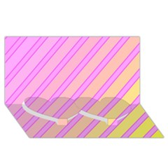 Pink and yellow elegant design Twin Heart Bottom 3D Greeting Card (8x4)