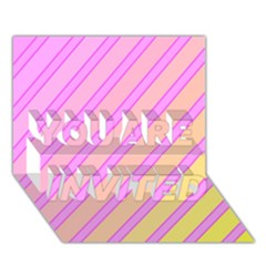 Pink and yellow elegant design YOU ARE INVITED 3D Greeting Card (7x5)