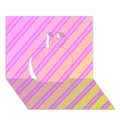 Pink and yellow elegant design Apple 3D Greeting Card (7x5)