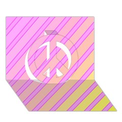 Pink and yellow elegant design Peace Sign 3D Greeting Card (7x5)