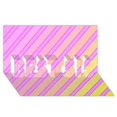 Pink and yellow elegant design BEST SIS 3D Greeting Card (8x4)