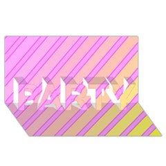 Pink and yellow elegant design PARTY 3D Greeting Card (8x4)