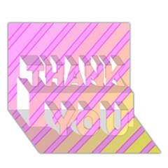 Pink and yellow elegant design THANK YOU 3D Greeting Card (7x5)