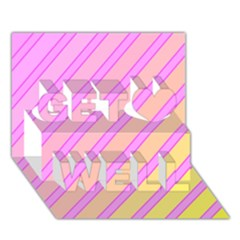 Pink and yellow elegant design Get Well 3D Greeting Card (7x5)