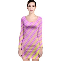 Pink and yellow elegant design Long Sleeve Bodycon Dress