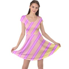 Pink and yellow elegant design Cap Sleeve Dresses