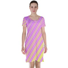 Pink and yellow elegant design Short Sleeve Nightdress