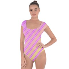 Pink and yellow elegant design Short Sleeve Leotard