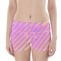 Pink And Yellow Elegant Design Boyleg Bikini Wrap Bottoms
