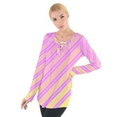 Pink And Yellow Elegant Design Women s Tie Up Tee