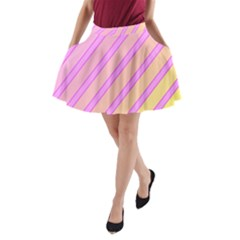 Pink and yellow elegant design A-Line Pocket Skirt