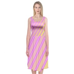 Pink and yellow elegant design Midi Sleeveless Dress