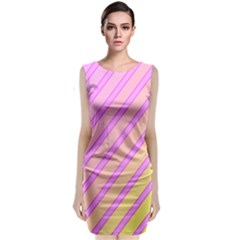 Pink And Yellow Elegant Design Classic Sleeveless Midi Dress
