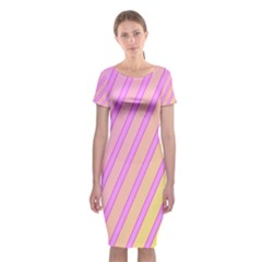 Pink And Yellow Elegant Design Classic Short Sleeve Midi Dress