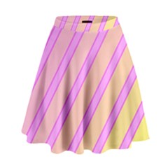 Pink And Yellow Elegant Design High Waist Skirt