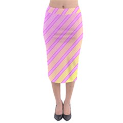 Pink And Yellow Elegant Design Midi Pencil Skirt