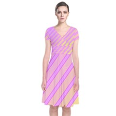 Pink And Yellow Elegant Design Short Sleeve Front Wrap Dress