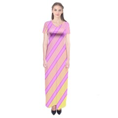 Pink And Yellow Elegant Design Short Sleeve Maxi Dress
