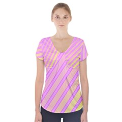 Pink And Yellow Elegant Design Short Sleeve Front Detail Top