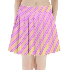 Pink And Yellow Elegant Design Pleated Mini Mesh Skirt