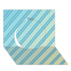 Blue elegant lines Circle 3D Greeting Card (7x5)
