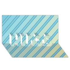 Blue elegant lines HUGS 3D Greeting Card (8x4)