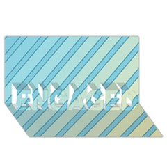 Blue elegant lines ENGAGED 3D Greeting Card (8x4)