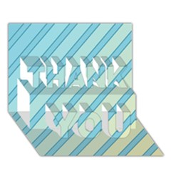 Blue Elegant Lines Thank You 3d Greeting Card (7x5)