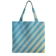 Blue elegant lines Zipper Grocery Tote Bag