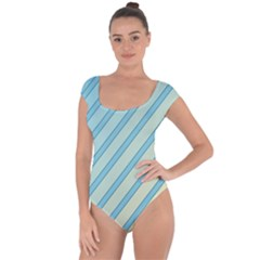 Blue elegant lines Short Sleeve Leotard