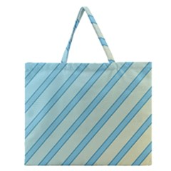 Blue elegant lines Zipper Large Tote Bag