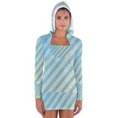 Blue elegant lines Women s Long Sleeve Hooded T-shirt