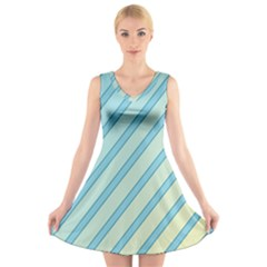 Blue elegant lines V-Neck Sleeveless Skater Dress