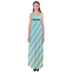 Blue Elegant Lines Empire Waist Maxi Dress