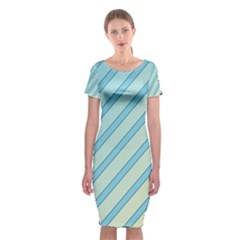 Blue Elegant Lines Classic Short Sleeve Midi Dress