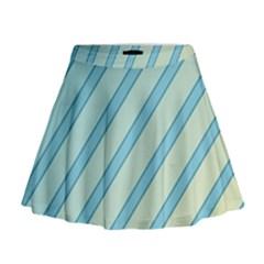 Blue Elegant Lines Mini Flare Skirt