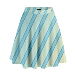 Blue Elegant Lines High Waist Skirt