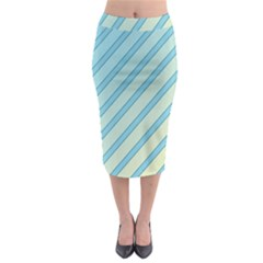 Blue Elegant Lines Midi Pencil Skirt