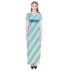 Blue Elegant Lines Short Sleeve Maxi Dress
