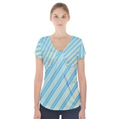 Blue Elegant Lines Short Sleeve Front Detail Top