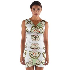Cvan0086 Cute Smiling Whimsical Twin Monkeys Wrap Front Bodycon Dress