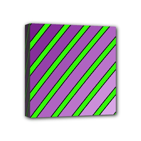 Purple and green lines Mini Canvas 4  x 4