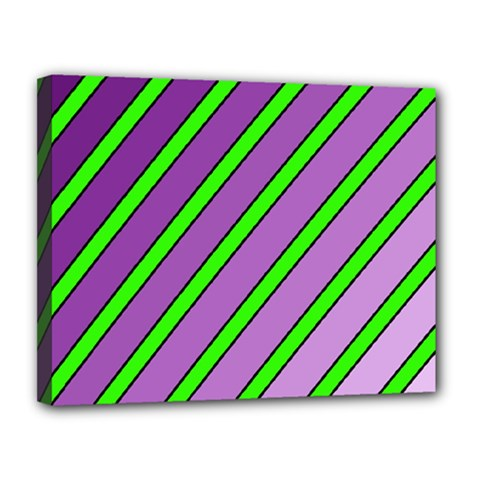 Purple and green lines Canvas 14  x 11