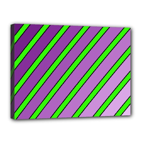 Purple and green lines Canvas 16  x 12