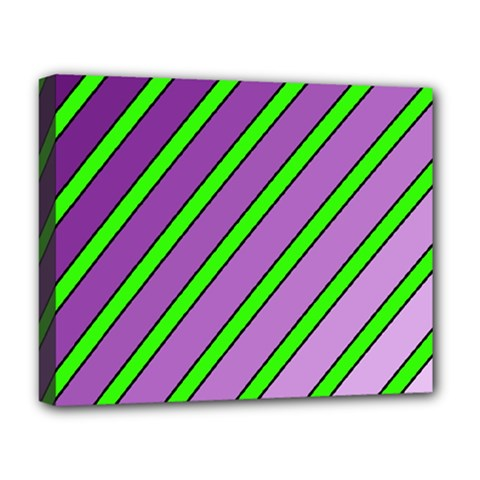 Purple and green lines Deluxe Canvas 20  x 16