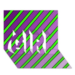 Purple and green lines GIRL 3D Greeting Card (7x5)